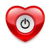 Corazón con el botón del powe Fotografía de archivo