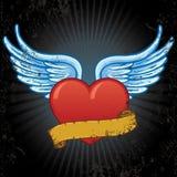 Corazón con las alas y la ilustración del vector de la bandera Fotos de archivo libres de regalías