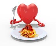 Corazón con las manos y bifurcación delante del plato del amatriciana Imagenes de archivo