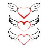 Corazón con vector de la colección de las alas Imagen de archivo