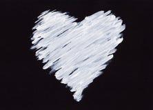 Corazón de acrílico blanco en negro Fotografía de archivo libre de regalías