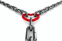 Corazón de cadena y rojo en el fondo blanco Imagen de archivo