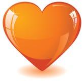 Corazón de cristal anaranjado Imagen de archivo