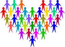 Corazón de la gente de la diversidad Imagen de archivo libre de regalías