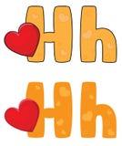 Corazón de la letra H Imagenes de archivo