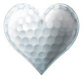 Corazón de la pelota de golf del amor Fotos de archivo libres de regalías