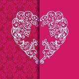 Corazón de la tarjeta de felicitación para Valentin Day Fotos de archivo libres de regalías