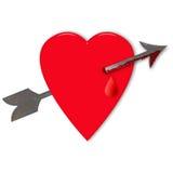 Corazón de la tarjeta del día de San Valentín con la flecha Imágenes de archivo libres de regalías