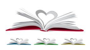 Corazón de las páginas del libro Fotos de archivo