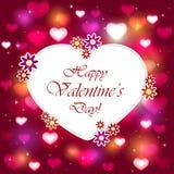 Corazón de las tarjetas del día de San Valentín en fondo rosado con los corazones brillantes Foto de archivo