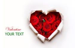 Corazón de papel de las tarjetas del día de San Valentín Fotos de archivo