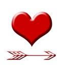 Corazón del amor y flecha de los cupids Imagen de archivo