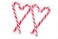 Corazón del bastón de caramelo dos Foto de archivo libre de regalías