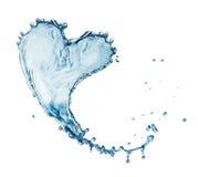 Corazón del chapoteo del agua con las burbujas Imagenes de archivo