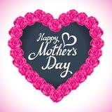 Corazón del día de la madre de la rosa del rosa hecho de las rosas púrpuras aisladas en el fondo blanco Fondo floral del vector d Imagen de archivo libre de regalías