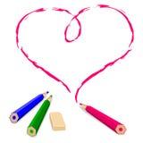 Corazón del drenaje del lápiz Imagen de archivo libre de regalías