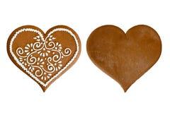 Corazón del pan de jengibre Imágenes de archivo libres de regalías