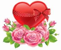 Corazón en rosas Foto de archivo libre de regalías