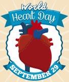 Corazón, etiquetas y cintas para celebrar el día del corazón del mundo, ejemplo del vector Fotografía de archivo libre de regalías