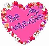 Corazón hermoso con la leyenda hecha de diversas flores Imágenes de archivo libres de regalías