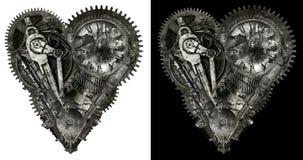 Corazón humano mecánico del amor aislado Fotografía de archivo