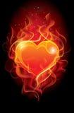 Corazón llameante Imagen de archivo libre de regalías