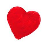 Corazón pintado rojo Foto de archivo libre de regalías