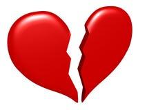 Corazón quebrado aislado Imagenes de archivo