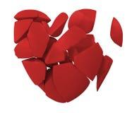 Corazón quebrado rojo Imagen de archivo libre de regalías