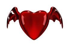 Corazón rojo brillante con las alas Foto de archivo libre de regalías