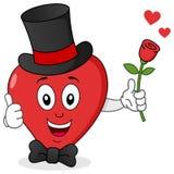 Corazón rojo con el sombrero de copa, la corbata de lazo y Rose Fotografía de archivo libre de regalías