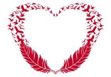 Corazón rojo con las plumas y los pájaros de vuelo, vector Imagen de archivo libre de regalías