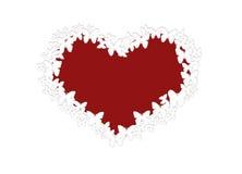 Corazón rojo de mariposas sin fondo Fotografía de archivo libre de regalías