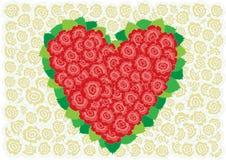 Corazón rojo y blanco de las rosas Foto de archivo