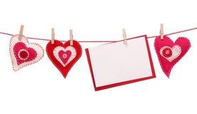 Corazón rojo y tarjeta en blanco Foto de archivo libre de regalías