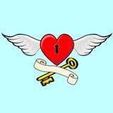 Corazón Wing Scroll y llave Fotografía de archivo