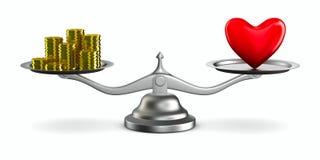 Corazón y dinero en escalas Imágenes de archivo libres de regalías