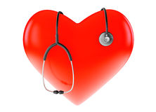Corazón y estetoscopio rojos Imágenes de archivo libres de regalías