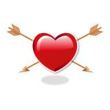 Corazón y flechas dobles Fotografía de archivo libre de regalías