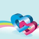 corazones 3D Foto de archivo
