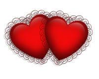 Corazones 3D de la tarjeta del día de San Valentín   Imagenes de archivo