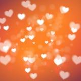 Corazones abstractos para el día de tarjetas del día de San Valentín en fondo anaranjado stock de ilustración