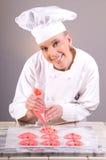 Corazones aflautados del cocinero de pasteles Foto de archivo libre de regalías
