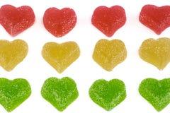 Corazones amarillos y rojos verdes Foto de archivo libre de regalías