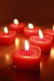 Corazones ardientes de la vela imagen de archivo libre de regalías