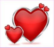 Corazones brillantes de la tarjeta del día de San Valentín Imagen de archivo