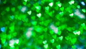 Corazones brillantes verdes Imagen de archivo