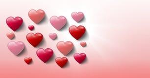 Corazones burbujeantes de las tarjetas del día de San Valentín Fotografía de archivo