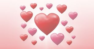 Corazones burbujeantes de las tarjetas del día de San Valentín Fotografía de archivo libre de regalías