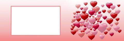 Corazones burbujeantes de las tarjetas del día de San Valentín con la caja vacía Foto de archivo